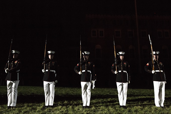 April 26, 2017. Evening parades are held as a means of honoring senior officials, distinguished citizens and supporters of the Marine Corps.